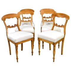 Set of Six Swedish Karl Johan Biedermeier Dining Chairs in Birch, circa 1825