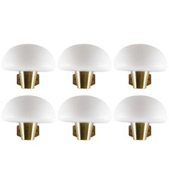 Set of Six Swedish Midcentury Wall Lamps in Brass and Opaline Glass