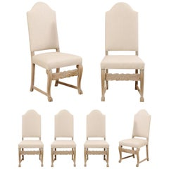 A Swedish Set of 6 Upholstered & Wood Dining Side Chairs w/Arched Top-rail Backs