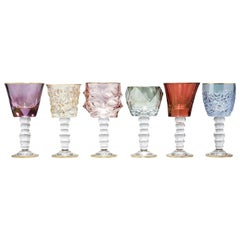 Set of Six Tall Assorted Chalices