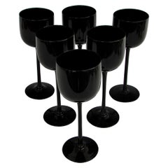 Set of Six Tall Stem Black Wine Glasses