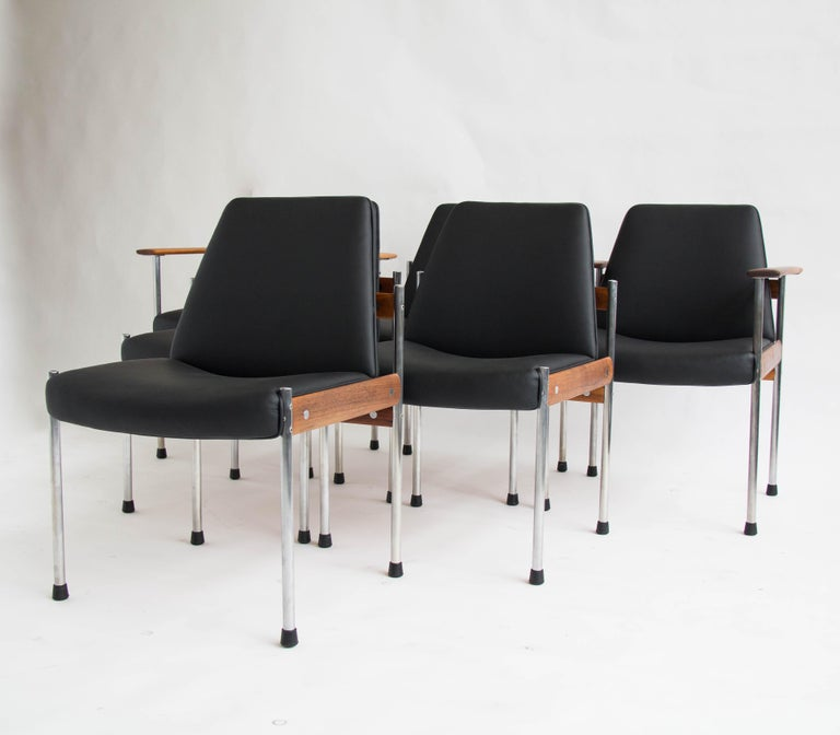 Norwegian Set of Six Teak and Leather Dining Chairs by Sven Ivar Dysthe For Sale