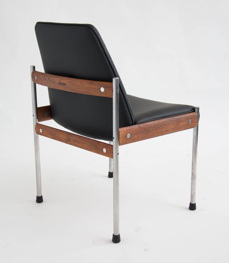 Mid-20th Century Set of Six Teak and Leather Dining Chairs by Sven Ivar Dysthe For Sale