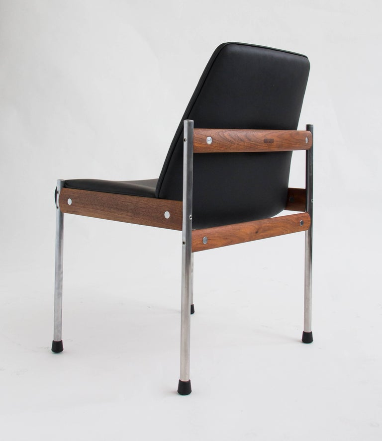 Metal Set of Six Teak and Leather Dining Chairs by Sven Ivar Dysthe For Sale
