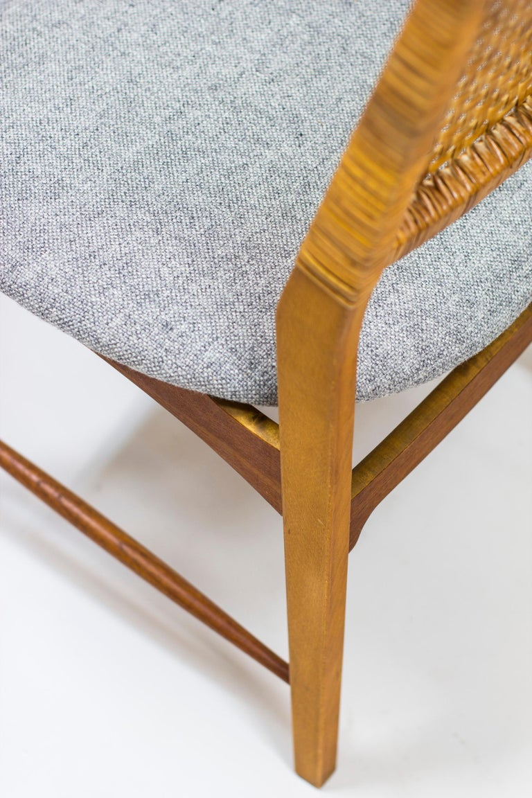 Set of Six Teak and Rattan Dining Chairs by Alfred Sand, Norway, 1950s 3