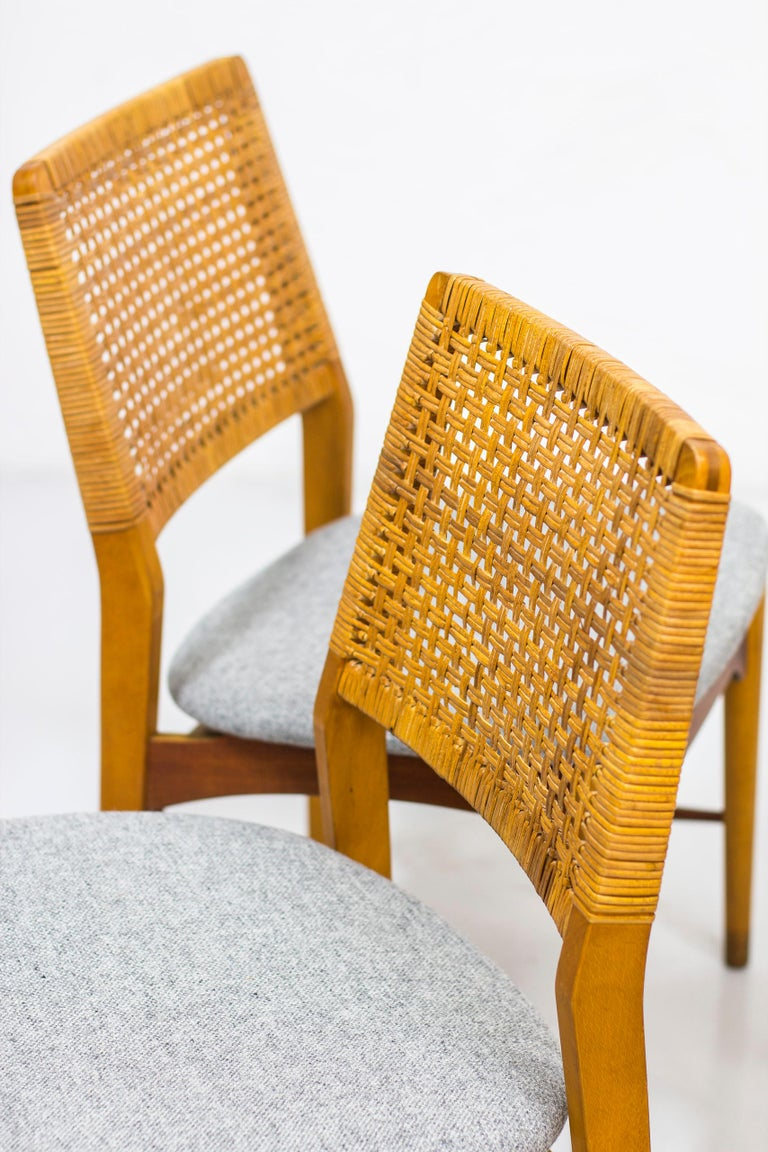 Set of Six Teak and Rattan Dining Chairs by Alfred Sand, Norway, 1950s 4