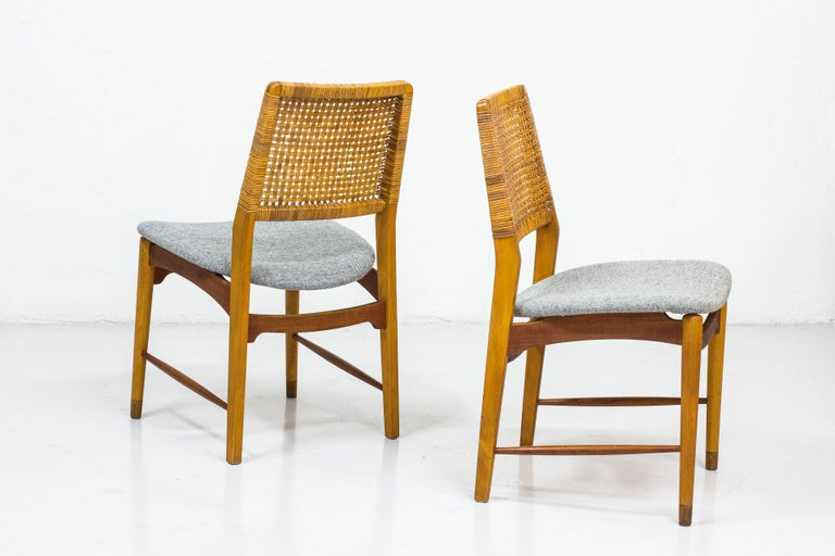 Set of Six Teak and Rattan Dining Chairs by Alfred Sand, Norway, 1950s 5