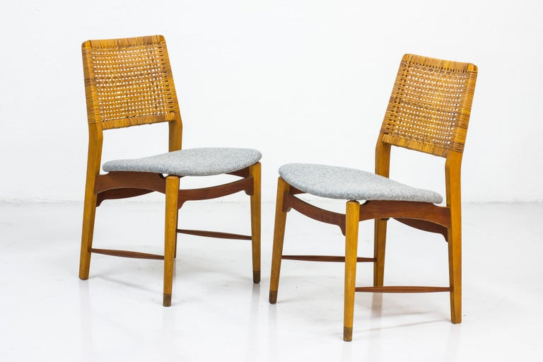 Set of Six Teak and Rattan Dining Chairs by Alfred Sand, Norway, 1950s 6