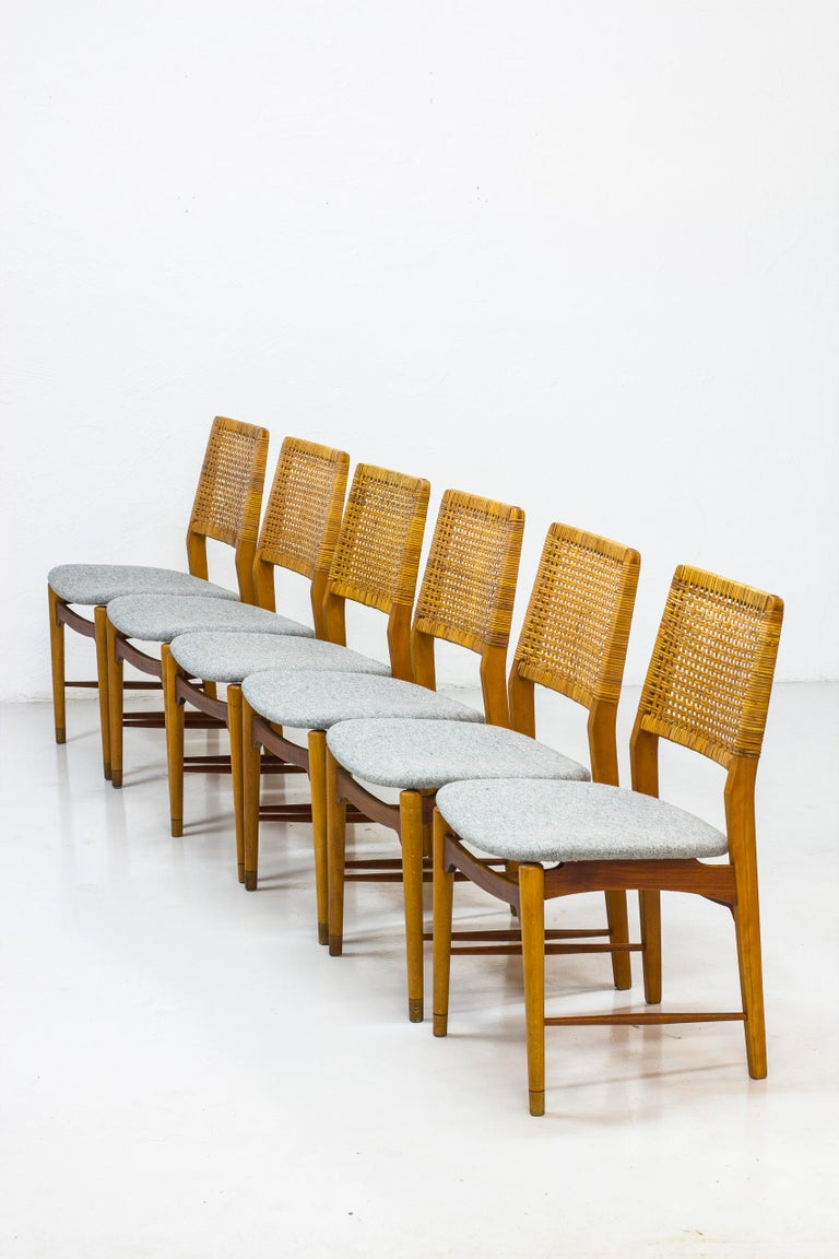 Set of Six Teak and Rattan Dining Chairs by Alfred Sand, Norway, 1950s 7
