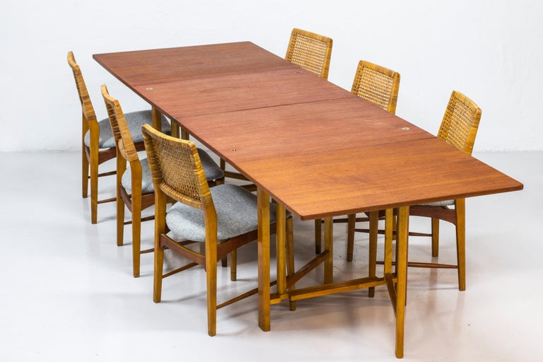 Scandinavian Modern Set of Six Teak and Rattan Dining Chairs by Alfred Sand, Norway, 1950s