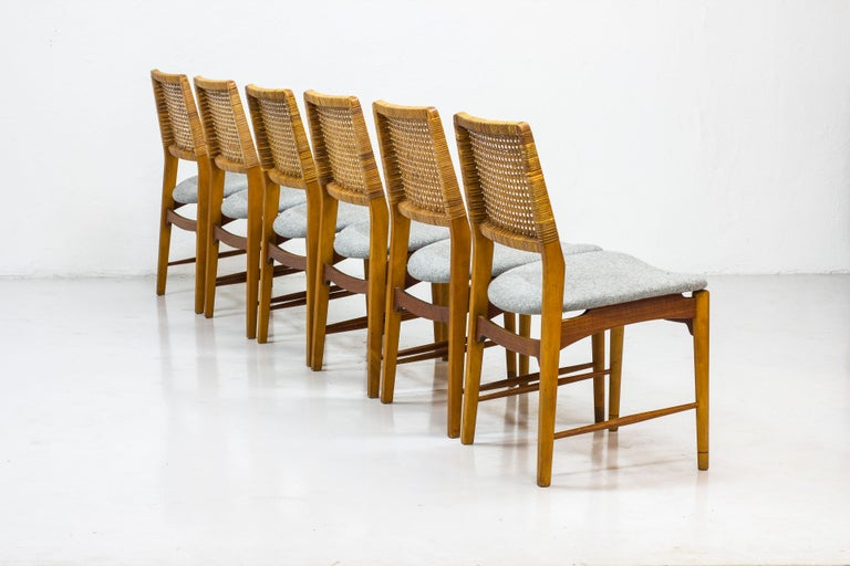Norwegian Set of Six Teak and Rattan Dining Chairs by Alfred Sand, Norway, 1950s
