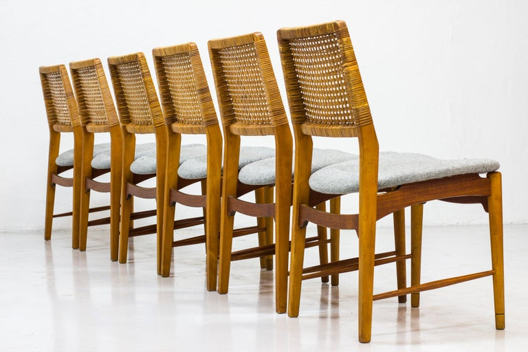 Set of Six Teak and Rattan Dining Chairs by Alfred Sand, Norway, 1950s In Good Condition In Stockholm, SE