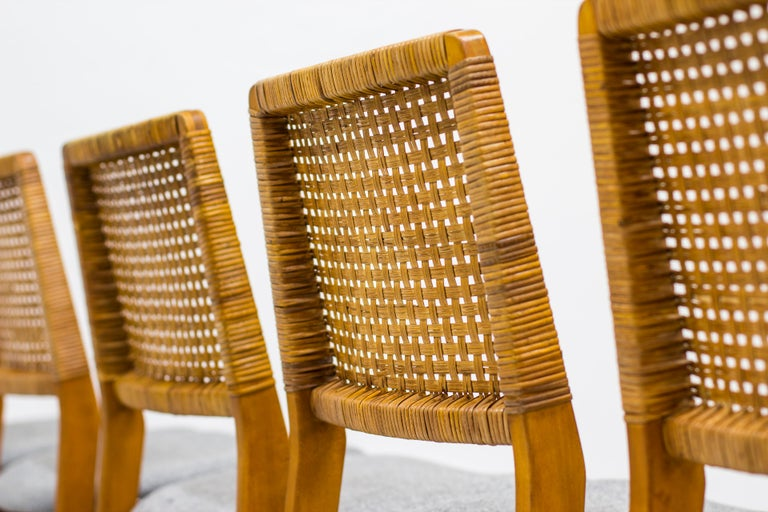 Mid-20th Century Set of Six Teak and Rattan Dining Chairs by Alfred Sand, Norway, 1950s