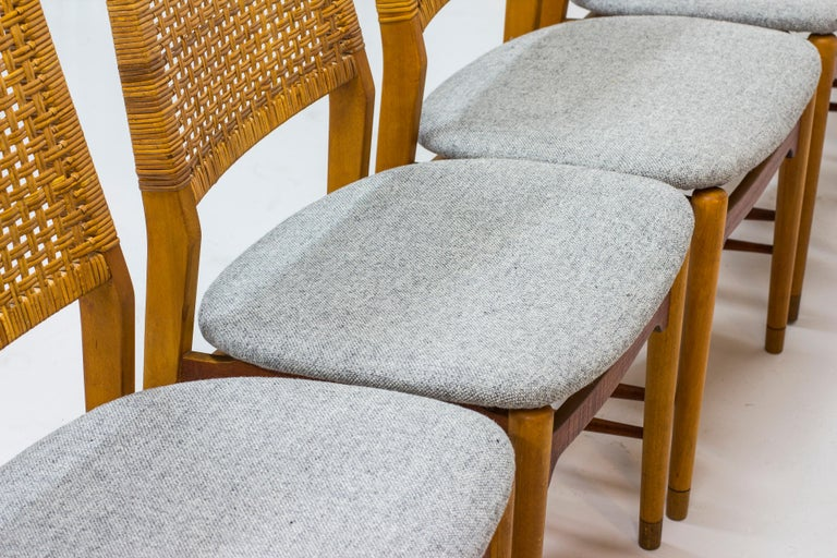 Wool Set of Six Teak and Rattan Dining Chairs by Alfred Sand, Norway, 1950s
