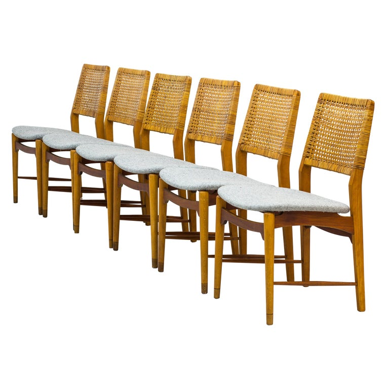 Set of Six Teak and Rattan Dining Chairs by Alfred Sand, Norway, 1950s