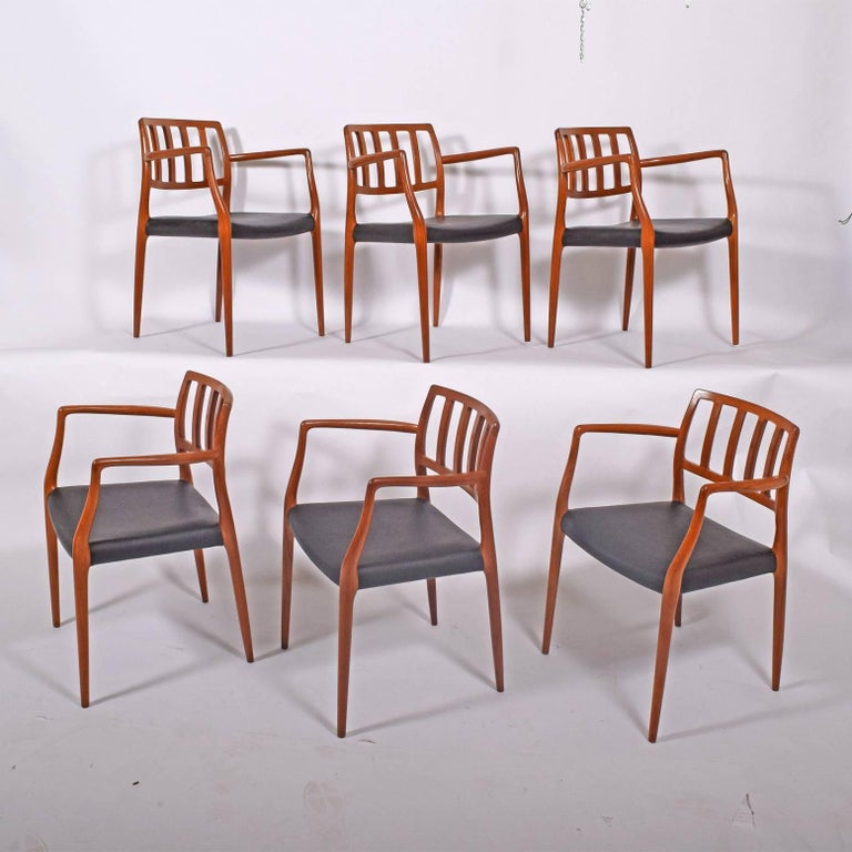 Danish Set of Six Teak Armchairs Design by Niels O. Moller For Sale
