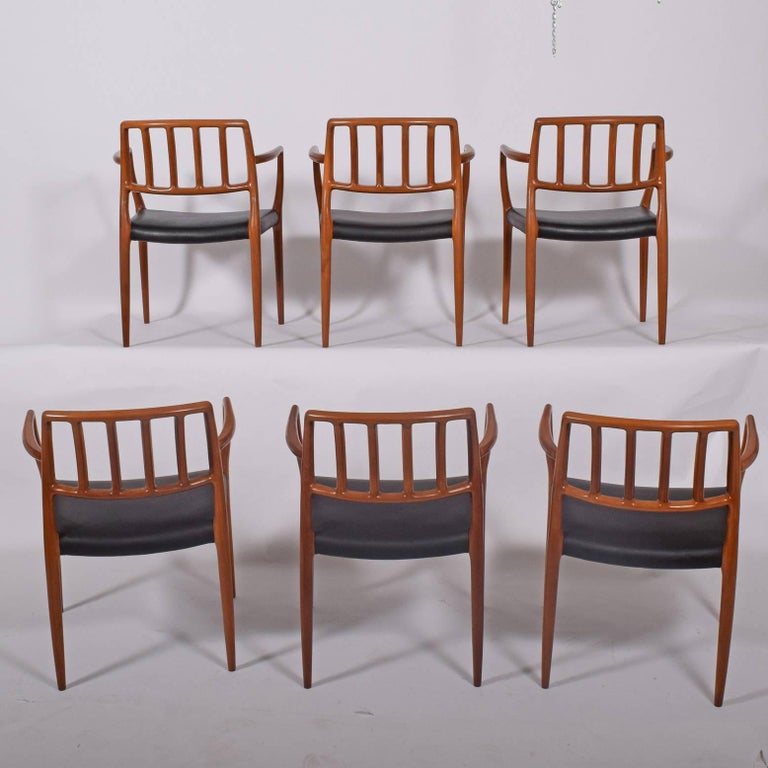Scandinavian Modern Set of Six Teak Armchairs Design by Niels O. Moller For Sale