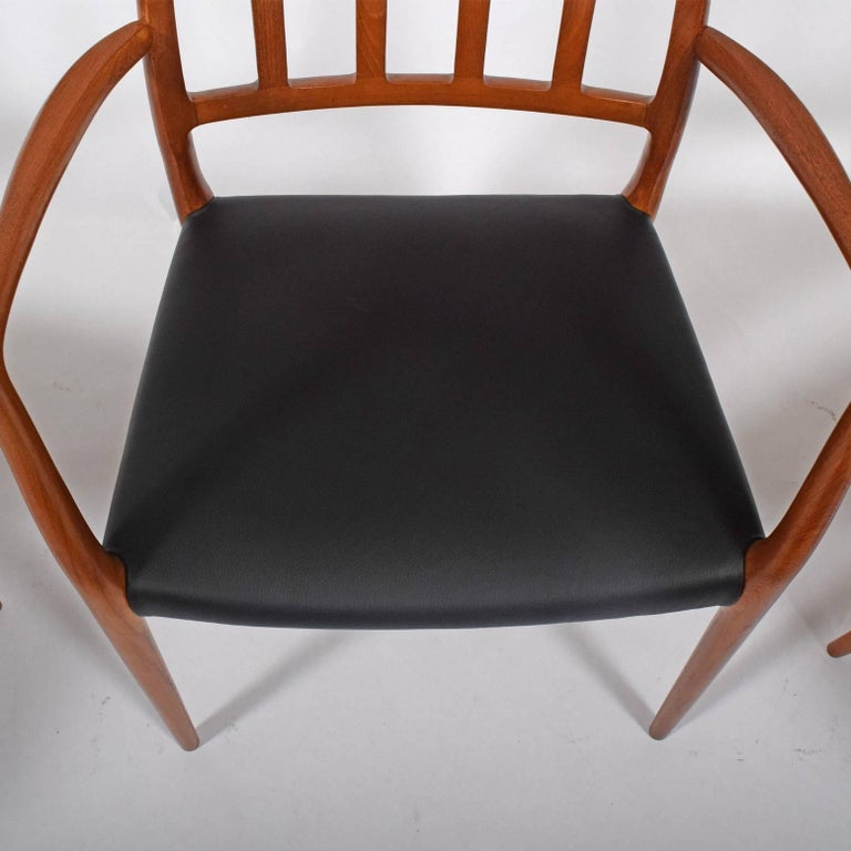 Leather Set of Six Teak Armchairs Design by Niels O. Moller For Sale