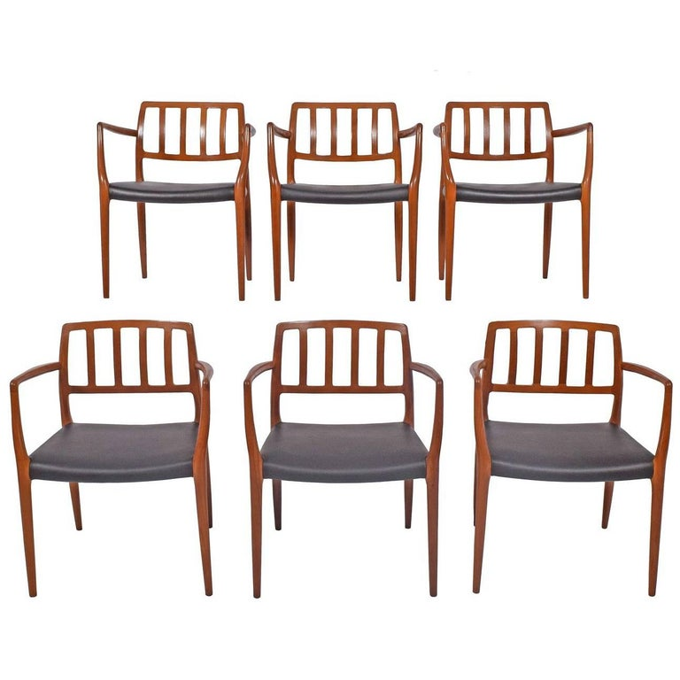 Set of Six Teak Armchairs Design by Niels O. Moller