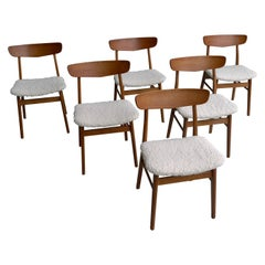 Set of Six Teak Danish Chairs with Seats in Pure Merino Wool, by Farstrup Møbler