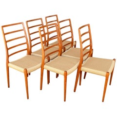 Set of Six Teak Ladder Back NO Moller Dining Chairs Model 82, Newly Woven Serats
