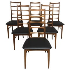 Set of Six Teak Ladder Dining Chair by Niels Koefoed, Denmark, circa 1960