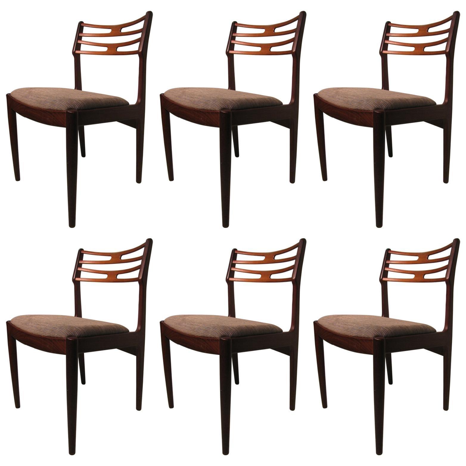 Set of Six Teak Mid Century Modern Danish Dining Room Chairs