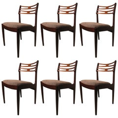 Set of Six Teak Mid Century Modern Danish Dining Room Chairs