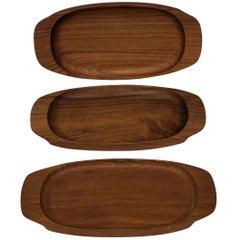 Set of Six Teak Trays by Illums Bolighus of Denmark