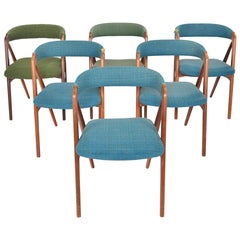 Set of Six Th Harlev Model 205 Danish Modern Midcentury Dining Chairs in Walnut