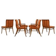 Set of Six T.H. Robsjohn-Gibbings Saber Leg Dining Chairs, circa 1940s