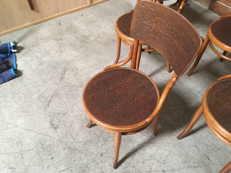 Set of Six Thonet Bentwood Dining Chairs For Sale 3
