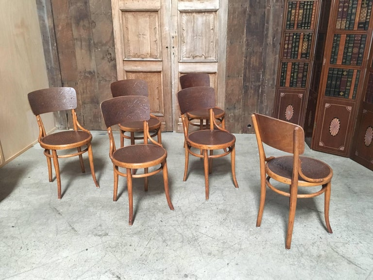 Austrian Set of Six Thonet Bentwood Dining Chairs For Sale