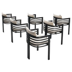 Set of Six Three-Legged Italian Dining Chairs with Fabric Upholstery
