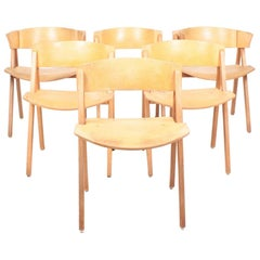 "Set of Six ""Trestle"" Side Chairs in Ash and Cork by Bernt, Danish Design, 1970s"