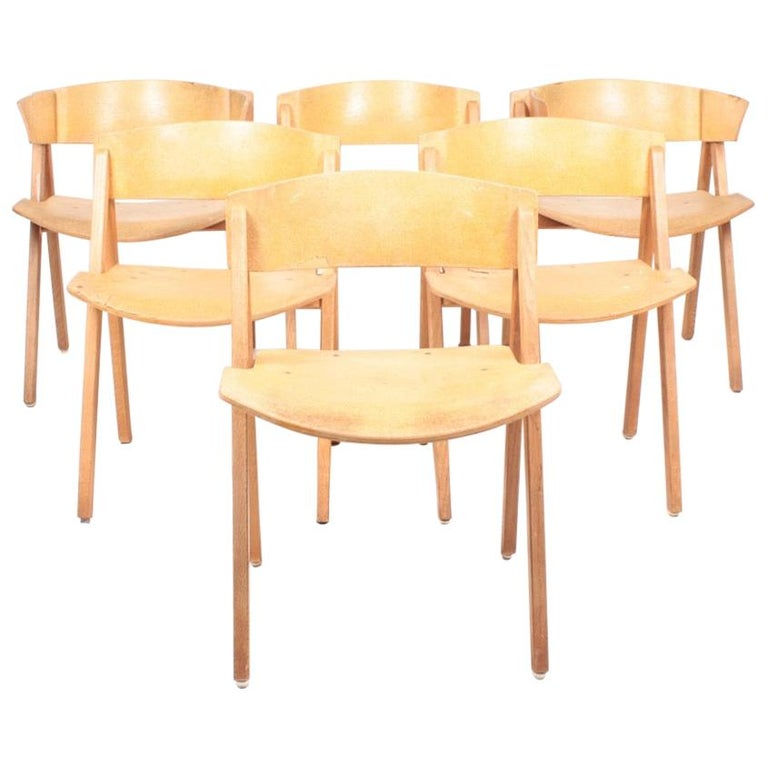 """Set of Six """"Trestle"""" Side Chairs in Ash and Cork by Bernt, Danish Design, 1970s For Sale"""