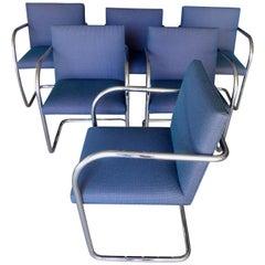 Set of Six Tubular Polished Steel Framed Brno Chairs by Knoll Studio