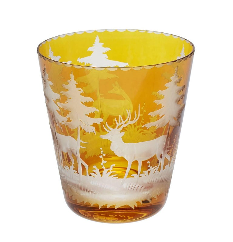 Set of Six Tumbler Green Crystal with Hunting Scene Sofina Boutique Kitzbuehel 4