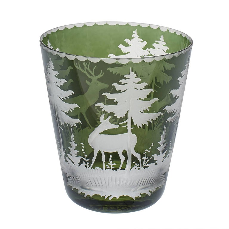 Set of Six Tumbler Green Crystal with Hunting Scene Sofina Boutique Kitzbuehel 5