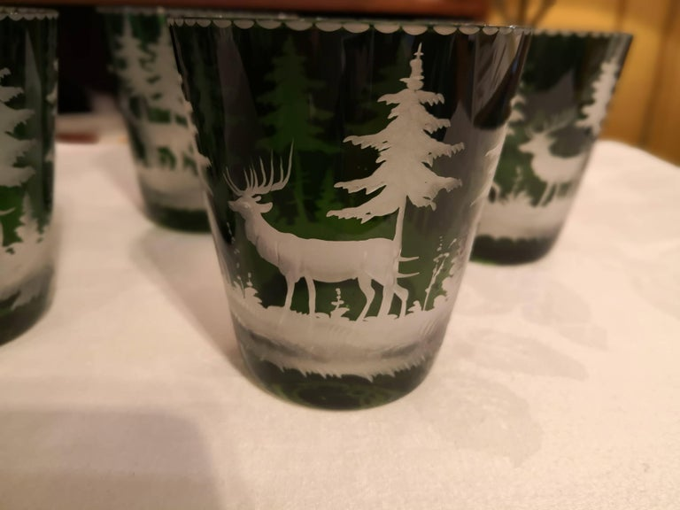 Black Forest Set of Six Tumbler Green Crystal with Hunting Scene Sofina Boutique Kitzbuehel