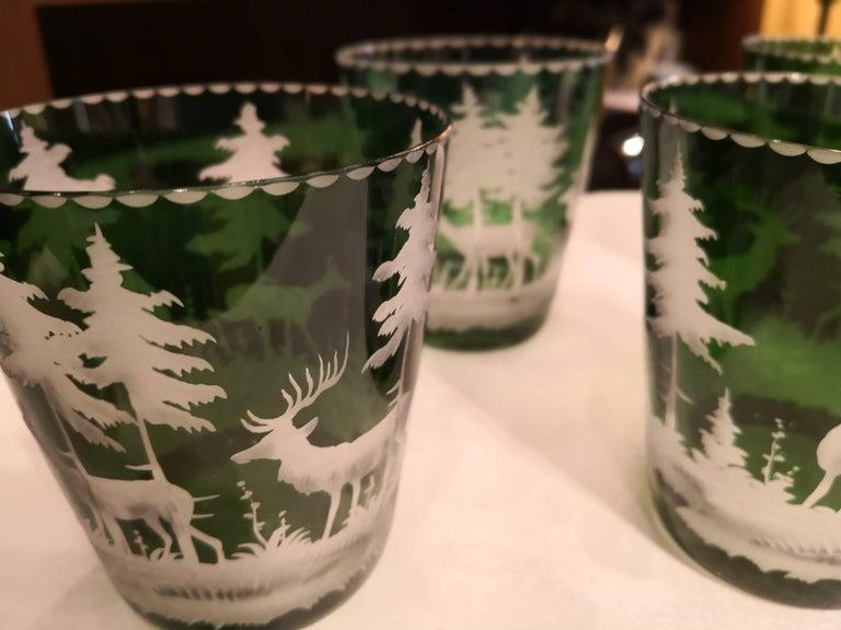 German Set of Six Tumbler Green Crystal with Hunting Scene Sofina Boutique Kitzbuehel