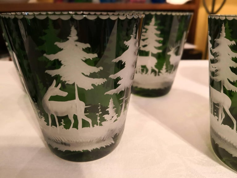 Hand-Crafted Set of Six Tumbler Green Crystal with Hunting Scene Sofina Boutique Kitzbuehel