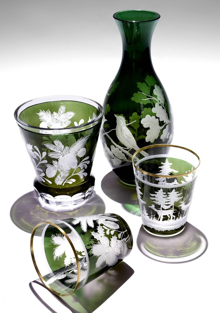 Set of Six Tumbler Green Crystal with Hunting Scene Sofina Boutique Kitzbuehel 1