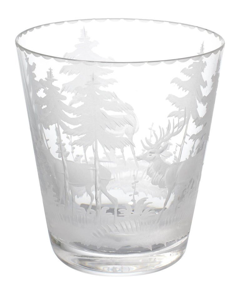 Set of Six Tumbler Green Crystal with Hunting Scene Sofina Boutique Kitzbuehel 2