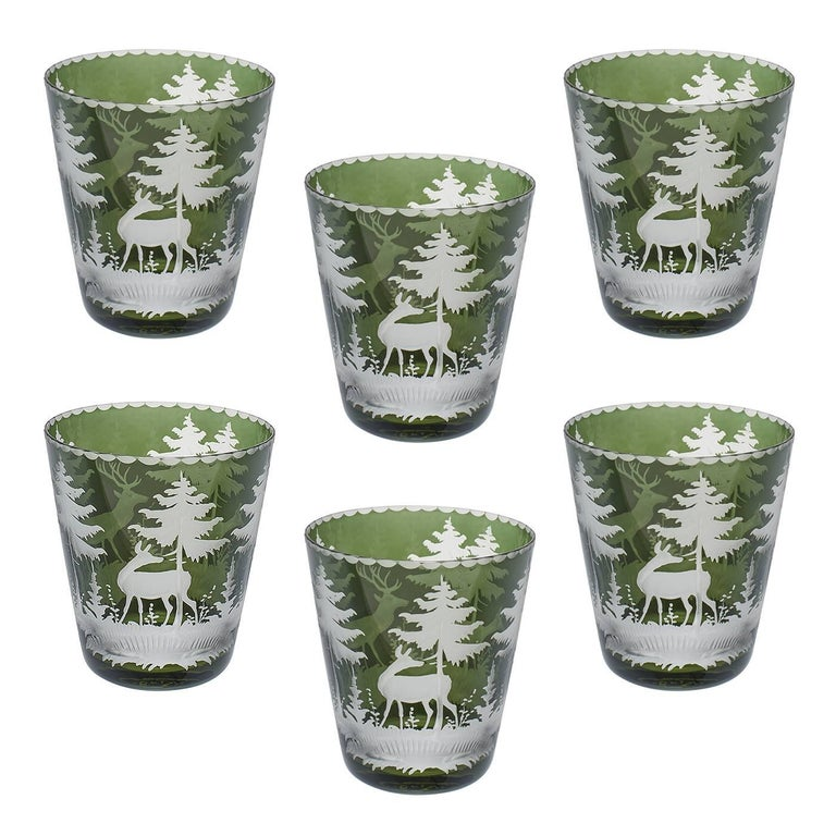 Set of Six Tumbler Green Crystal with Hunting Scene Sofina Boutique Kitzbuehel