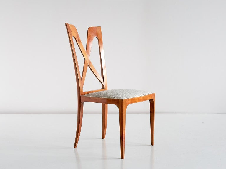 Set of Six Ulderico Carlo Forni Dining Chairs in Cherry Wood, Italy, 1940s For Sale 2