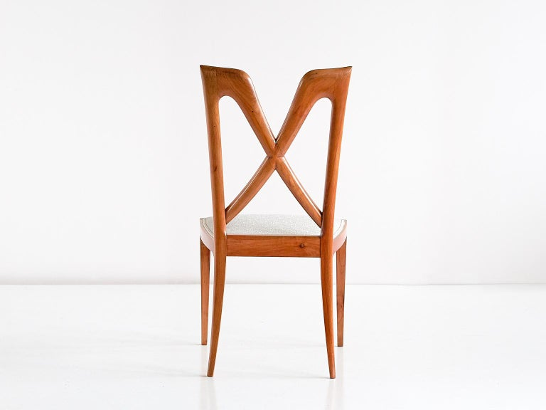 Set of Six Ulderico Carlo Forni Dining Chairs in Cherry Wood, Italy, 1940s For Sale 3