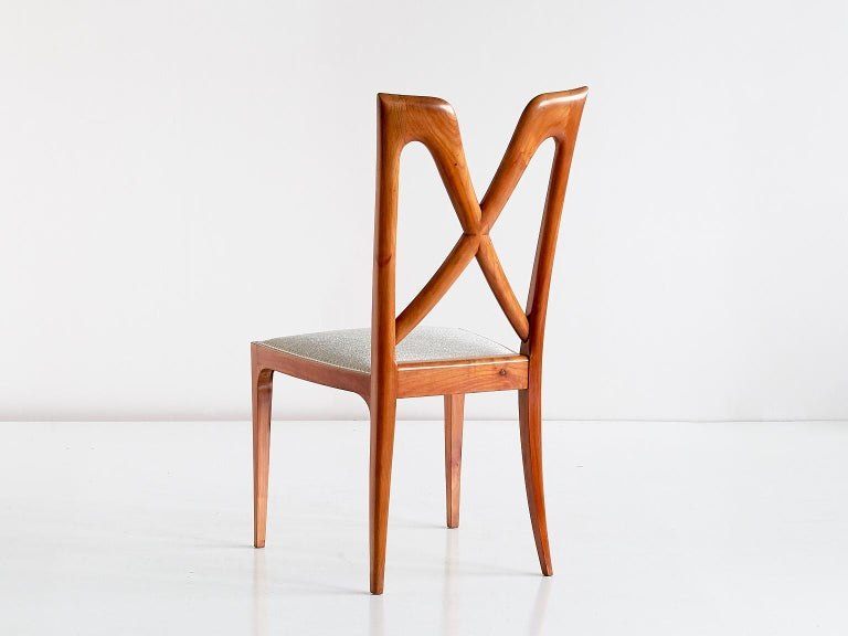Set of Six Ulderico Carlo Forni Dining Chairs in Cherry Wood, Italy, 1940s For Sale 4