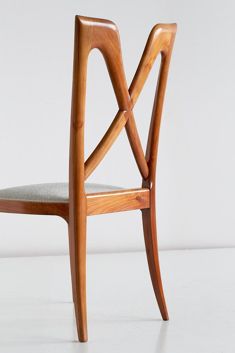 Set of Six Ulderico Carlo Forni Dining Chairs in Cherry Wood, Italy, 1940s For Sale 5
