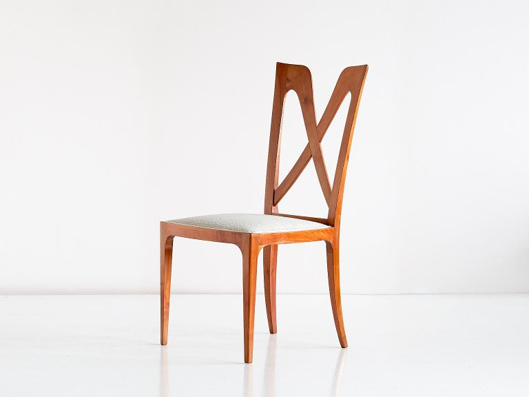 Set of Six Ulderico Carlo Forni Dining Chairs in Cherry Wood, Italy, 1940s For Sale 6